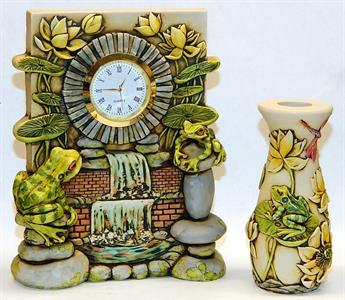 Yellow Clock and Vase
